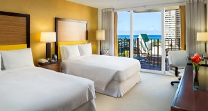 Two Double Bed Ocean View Guestroom at the Hilton Waikiki Hotel