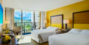 Deluxe Double Beds with Mountain View at the Hilton Waikiki Beach